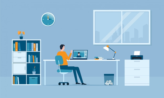 Menschen arbeiten von zu hause aus konzept und intelligent arbeiten online verbinden überall konzept