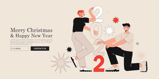 Menschen arrangieren 2022-puzzle-charaktere verbinden neujahrszahlen miteinander