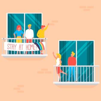 Menschen auf balkon konzept