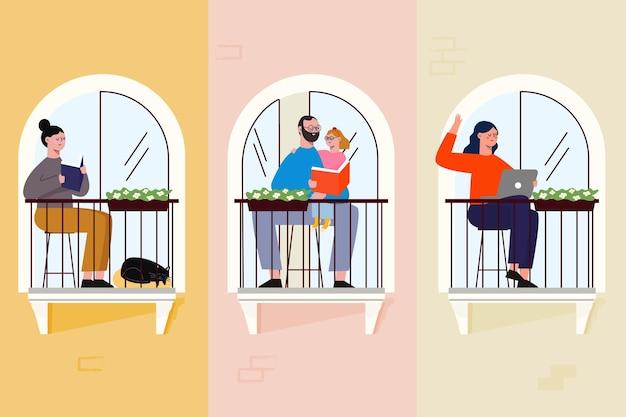 Menschen auf balkonen, die freizeitaktivitäten ausüben