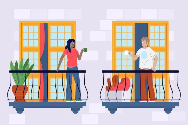 Menschen auf balkonen in quarantäne mit kaffee