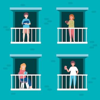 Menschen auf balkonen mit haustieren und gegenständen