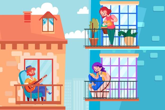 Menschen auf dem balkon kümmern sich um haus und sich selbst