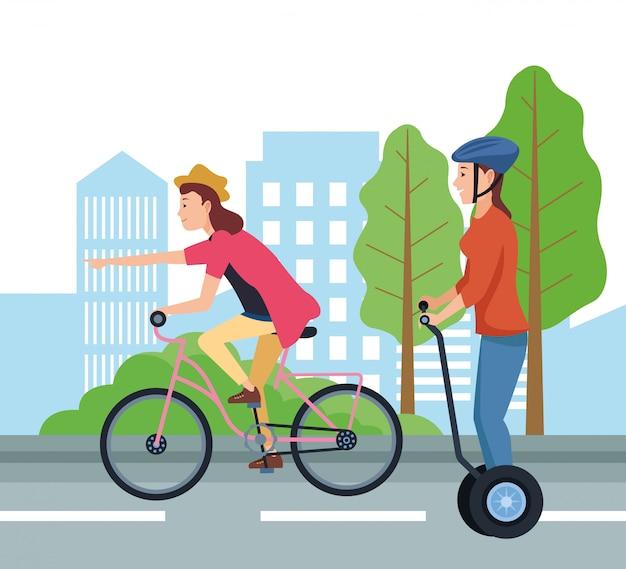 Menschen auf dem fahrrad und segway