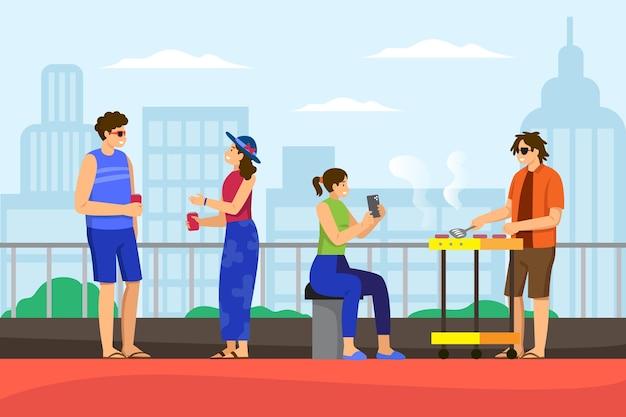 Menschen auf einem dach staycation-konzept