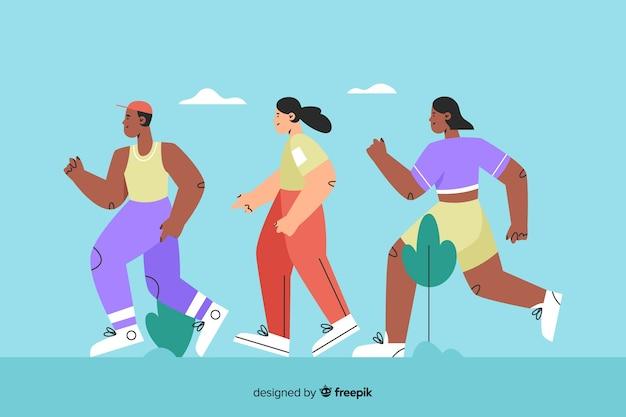 Menschen auf einem marathonlauf