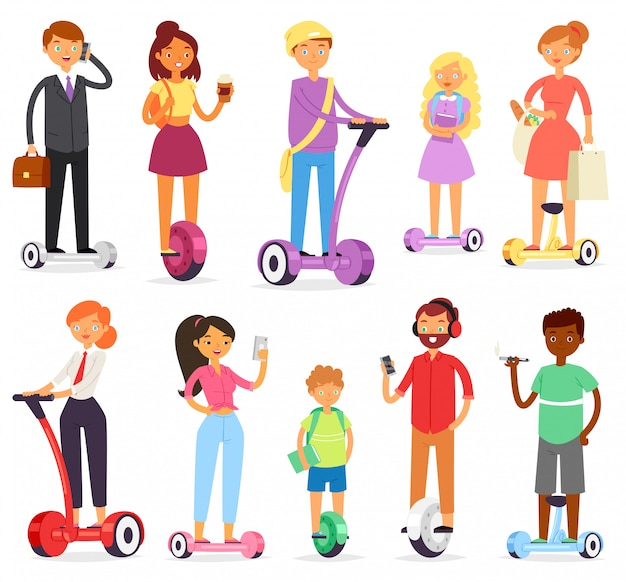 Menschen auf hoverboard-charakter auf segway und geschäftsmann auf gyroscooter-illustrationssatz des mannes, der auf elektrischem monowheel oder balanceboard auf weißem hintergrund balanciert