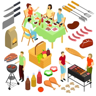Menschen auf picknick illustration mann frau braten fleisch grill im freien isometrischen satz isoliert