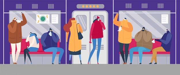 Menschen auf straßengrippe saison epidemie virus krankheit illustration. kranke familie, die kranke grippe behandelt, kält menschen in der maske auf der straße, im öffentlichen verkehr.