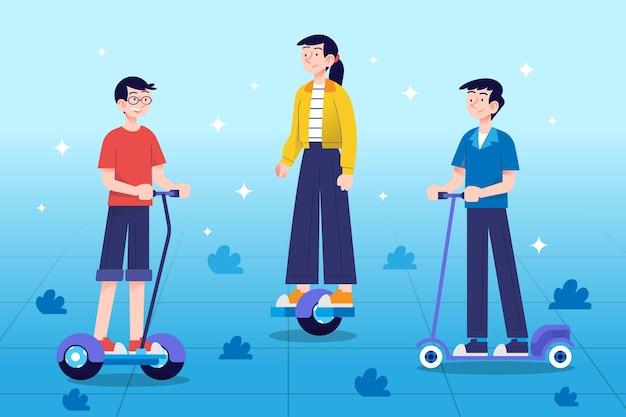 Menschen auf verschiedenen elektrischen transportmitteln