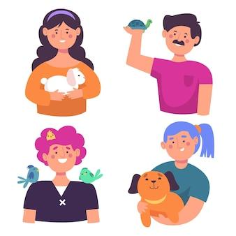 Menschen avatar halten verschiedene tiere