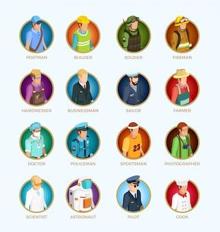 Menschen avatar isometrische set