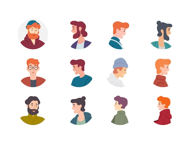 Menschen avatar-sammlung. männer jungen männliche charaktere.