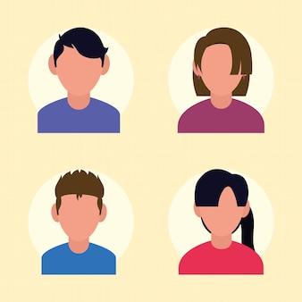 Menschen avatare icon set