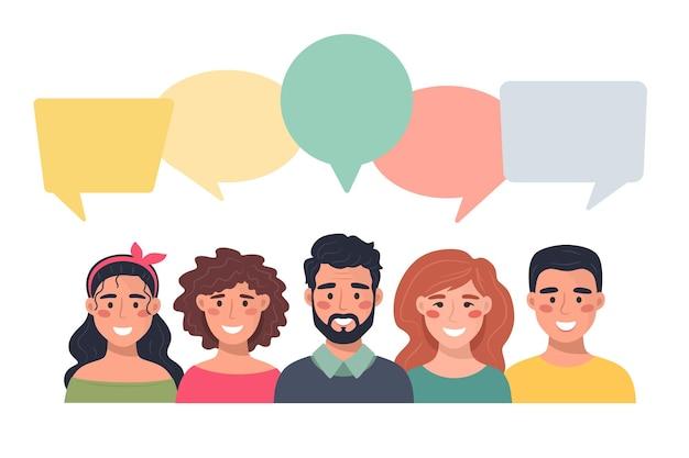 Menschen avatare mit sprechblasen