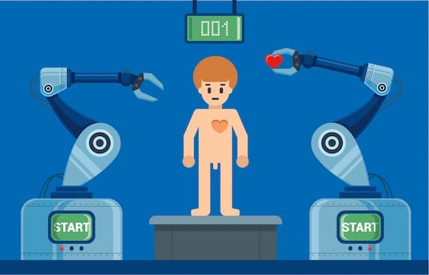 Menschen bauen roboter am fließband. zeichen-vektor-illustration