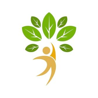 Menschen baum mit blättern logo vorlage