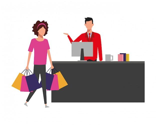 Menschen beim supermarkt einkaufen