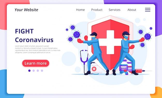Menschen bekämpfen das covid-19-coronavirus-konzept, ärzte und krankenschwestern schlagen viruszellen. design-vorlage für die zielseite der website