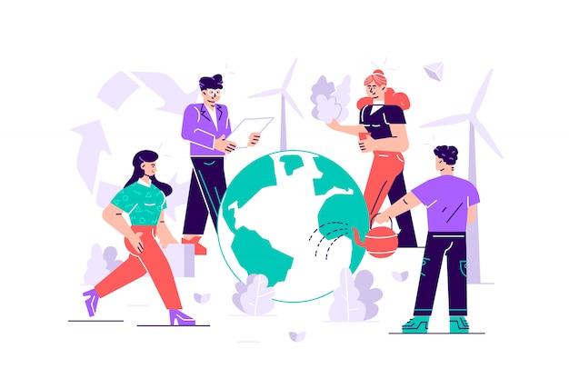 Menschen bereiten sich auf den tag der erde vor. rette den planeten. energie sparen