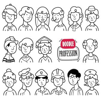 Menschen beruf schwarz-weiß-doodle-illustration