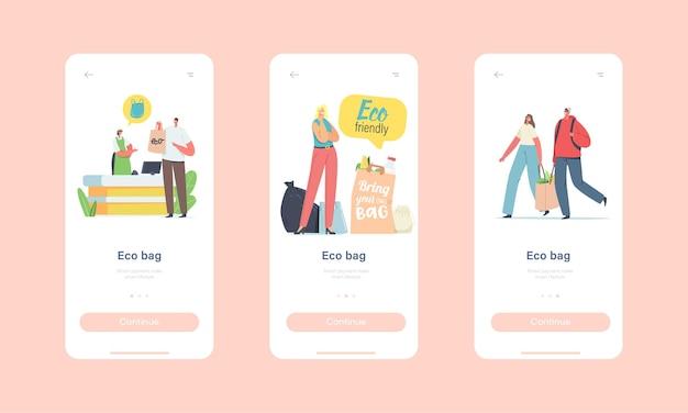 Menschen besuchen shop mit wiederverwendbaren öko-taschen und verpackung für mobile app-seiten-onboard-bildschirmvorlage