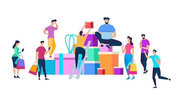 Menschen bewegen sich von riesigen haufen von geschenkboxen