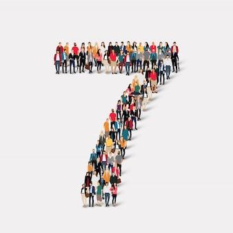 Menschen bilden nummer sieben. crowd-point-gruppe, die eine vorbestimmte form bildet.