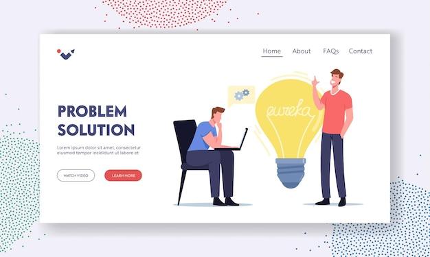 Menschen brainstorming-suche nach lösungs-landing-page-vorlage. eureka-konzept. geschäftsleute kollegen charaktere mit laptop sitzen an der riesigen glühbirne denken kreative idee. . cartoon-vektor-illustration