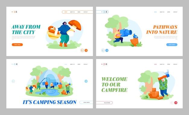 Menschen camping hobby, freizeit landing page template set