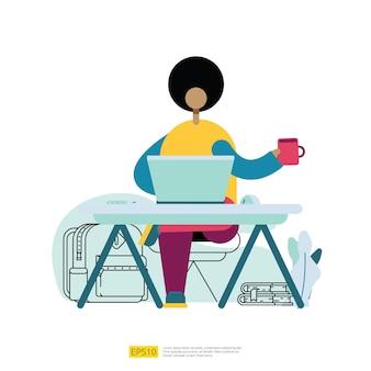 Menschen-cartoon-figur, die aus der ferne mit laptop auf dem schreibtisch arbeitet. freiberufler, der am arbeitsplatz in der flachen artvektorillustration sitzt