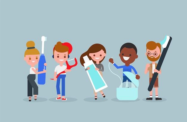 Menschen cartoon mit zahnreinigungswerkzeugen. mundpflegeprodukt in der täglichen lebensillustration. charakter.