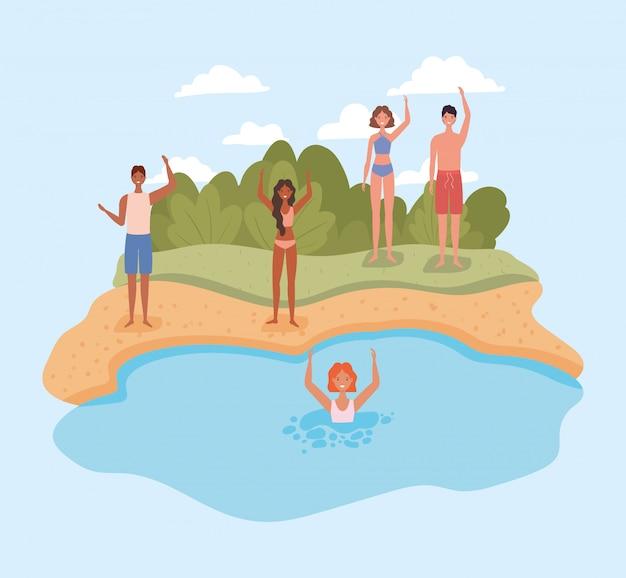 Menschen cartoons mit badeanzügen am strand