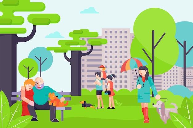Menschen charakter gehen zusammen mit hund, männchen und weibchen spazieren heimtier haustier, städtische stadtbild flache vektorgrafik, park im freien.