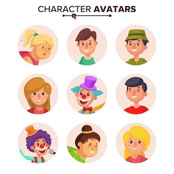 Menschen charaktere avatare set.