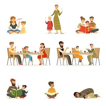 Menschen charaktere verschiedener religionen setzen. familien in trachten, die beten, heilige bücher lesen, kinder unterrichten, abendessen. juden, katholiken, muslime religiöse aktivitäten. karikatur