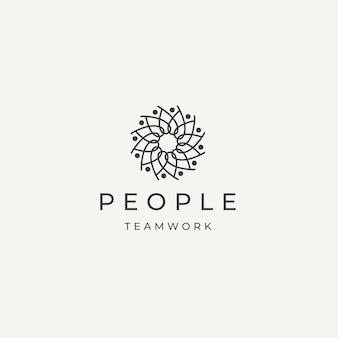 Menschen community team arbeit vielfalt logo symbol design vorlage flache vektor illustration
