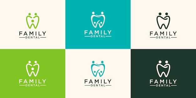 Menschen dental logo zahn abstrakte design-vektor-vorlage linearer stil.