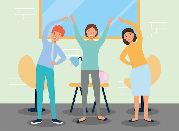 Menschen, die aktive pausen am arbeitsplatz praktizieren