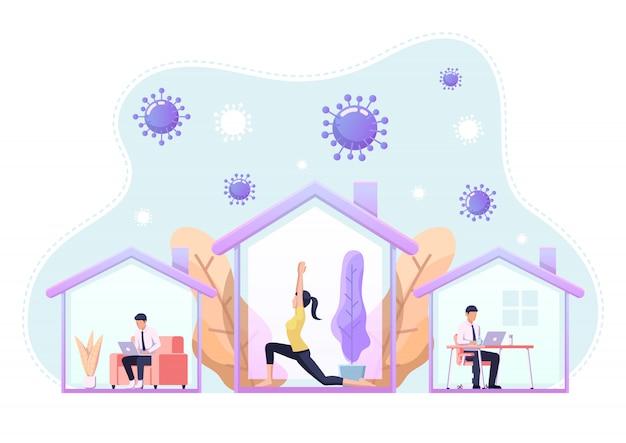 Menschen, die aktivitäten ausführen oder zu hause arbeiten, um eine covid-19-coronavirus-infektion zu verhindern