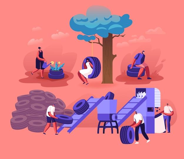 Menschen, die alte autoreifen benutzen und recyceln, machen blumenbeet und schwingen zu hause hof, schleifen auf pflanze. karikatur flache illustration