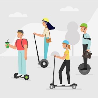 Menschen, die alternative elektrische transportmittel nutzen
