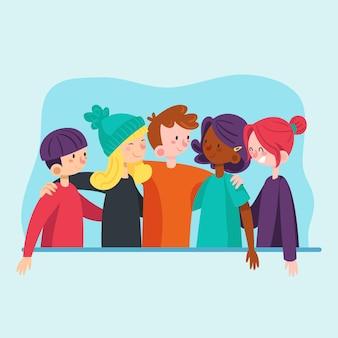 Menschen, die am jugendtag im flachen design zusammen umarmen