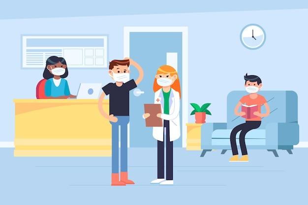 Menschen, die an einem krankenhausempfang warten, während sie medizinische masken tragen