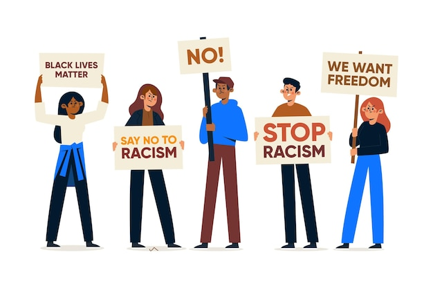 Menschen, die an einem protest gegen rassismus teilnehmen