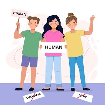 Menschen, die an einer geschlechtsneutralen bewegung teilnehmen