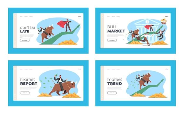 Menschen, die auf bull stock market landing page template handeln