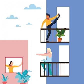 Menschen, die auf dem balkon ihrer häuser dehnungs- und kraftübungen machen