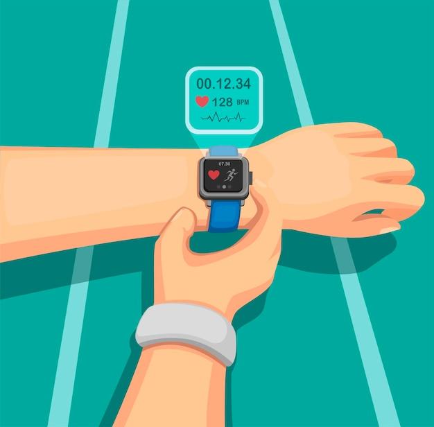 Menschen, die auf der joggingstrecke mit smartwatch und sportgeräten mit gesundheitsinformationen auf mobilgeräten laufen. konzept in der karikaturillustration