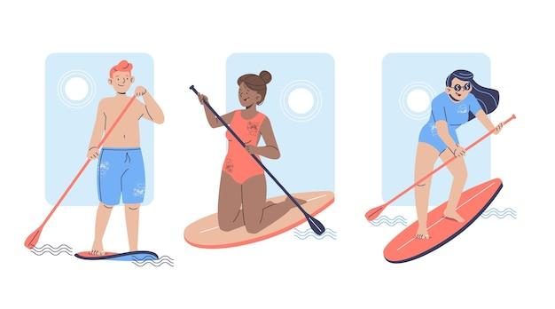 Menschen, die auf sup-boards stehen, illustriert